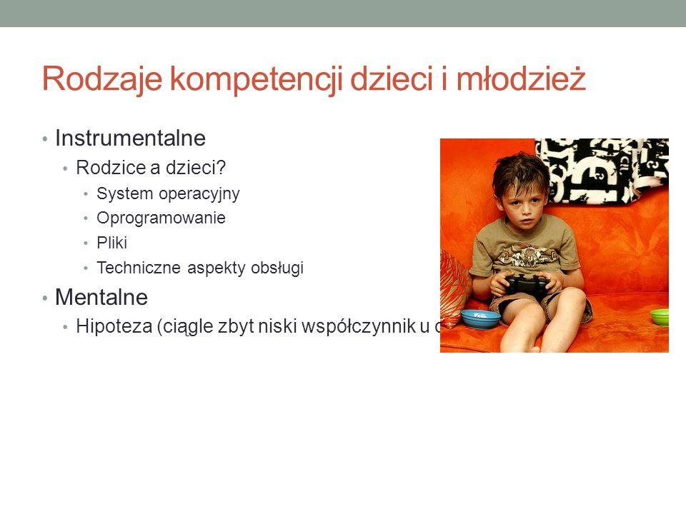 Rodzaje kompetencji dzieci i młodzież Instrumentalne Rodzice a dzieci.