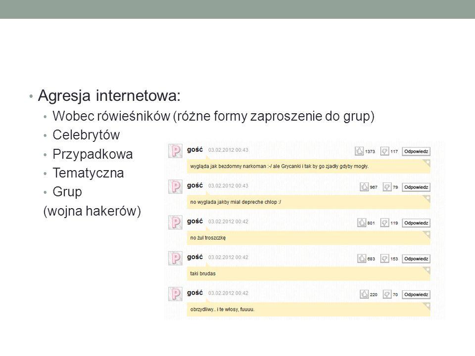 Agresja internetowa: Wobec rówieśników (różne formy zaproszenie do grup) Celebrytów Przypadkowa Tematyczna Grup (wojna hakerów)