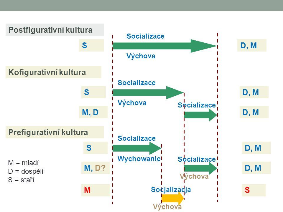 Prefigurativní kultura Kofigurativní kultura Postfigurativní kultura D, M S S M Socializace Výchova Socializace SD, M Socializace Výchova M, D D, M S Socializace Wychowanie M, D.