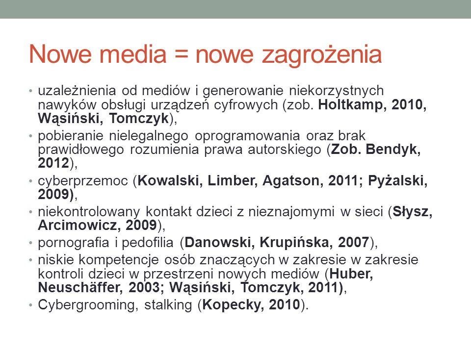 Nowe media = nowe zagrożenia uzależnienia od mediów i generowanie niekorzystnych nawyków obsługi urządzeń cyfrowych (zob.