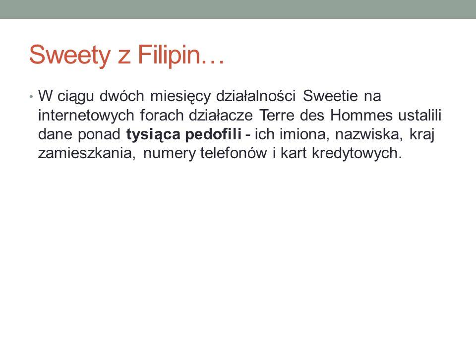 Sweety z Filipin… W ciągu dwóch miesięcy działalności Sweetie na internetowych forach działacze Terre des Hommes ustalili dane ponad tysiąca pedofili - ich imiona, nazwiska, kraj zamieszkania, numery telefonów i kart kredytowych.