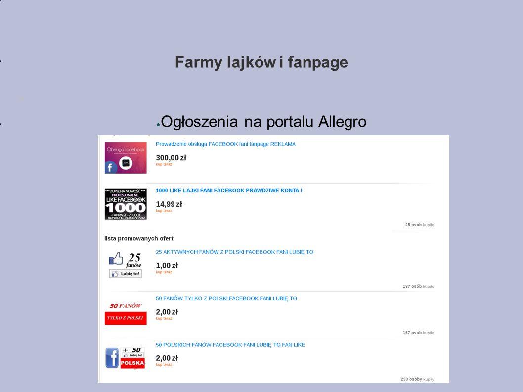 Farmy lajków i fanpage ● Ogłoszenia na portalu Allegro