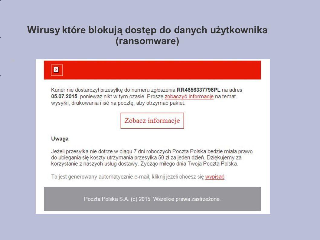 Wirusy które blokują dostęp do danych użytkownika (ransomware)