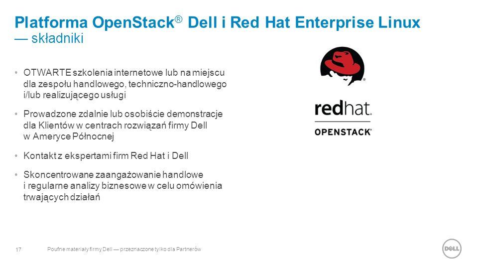 17 Poufne materiały firmy Dell — przeznaczone tylko dla Partnerów Platforma OpenStack ® Dell i Red Hat Enterprise Linux — składniki OTWARTE szkolenia internetowe lub na miejscu dla zespołu handlowego, techniczno-handlowego i/lub realizującego usługi Prowadzone zdalnie lub osobiście demonstracje dla Klientów w centrach rozwiązań firmy Dell w Ameryce Północnej Kontakt z ekspertami firm Red Hat i Dell Skoncentrowane zaangażowanie handlowe i regularne analizy biznesowe w celu omówienia trwających działań