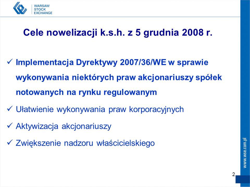 2 Cele nowelizacji k.s.h. z 5 grudnia 2008 r. Implementacja Dyrektywy 2007/36/WE w sprawie wykonywania niektórych praw akcjonariuszy spółek notowanych