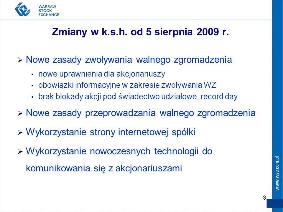 3 Zmiany w k.s.h. od 5 sierpnia 2009 r.  Nowe zasady zwoływania walnego zgromadzenia nowe uprawnienia dla akcjonariuszy obowiązki informacyjne w zakr