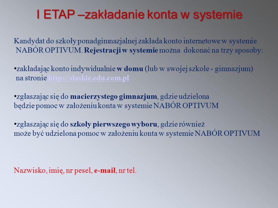 I ETAP –zakładanie konta w systemie Kandydat do szkoły ponadgimnazjalnej zakłada konto internetowe w systemie NABÓR OPTIVUM. Rejestracji w systemie mo