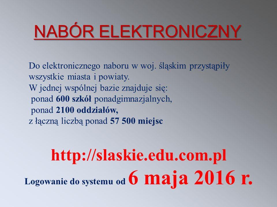 http://slaskie.edu.com.pl Logowanie do systemu od 6 maja 2016 r. Do elektronicznego naboru w woj. śląskim przystąpiły wszystkie miasta i powiaty. W je