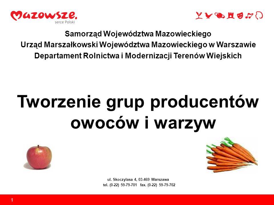 1 Samorząd Województwa Mazowieckiego Urząd Marszałkowski Województwa Mazowieckiego w Warszawie Departament Rolnictwa i Modernizacji Terenów Wiejskich