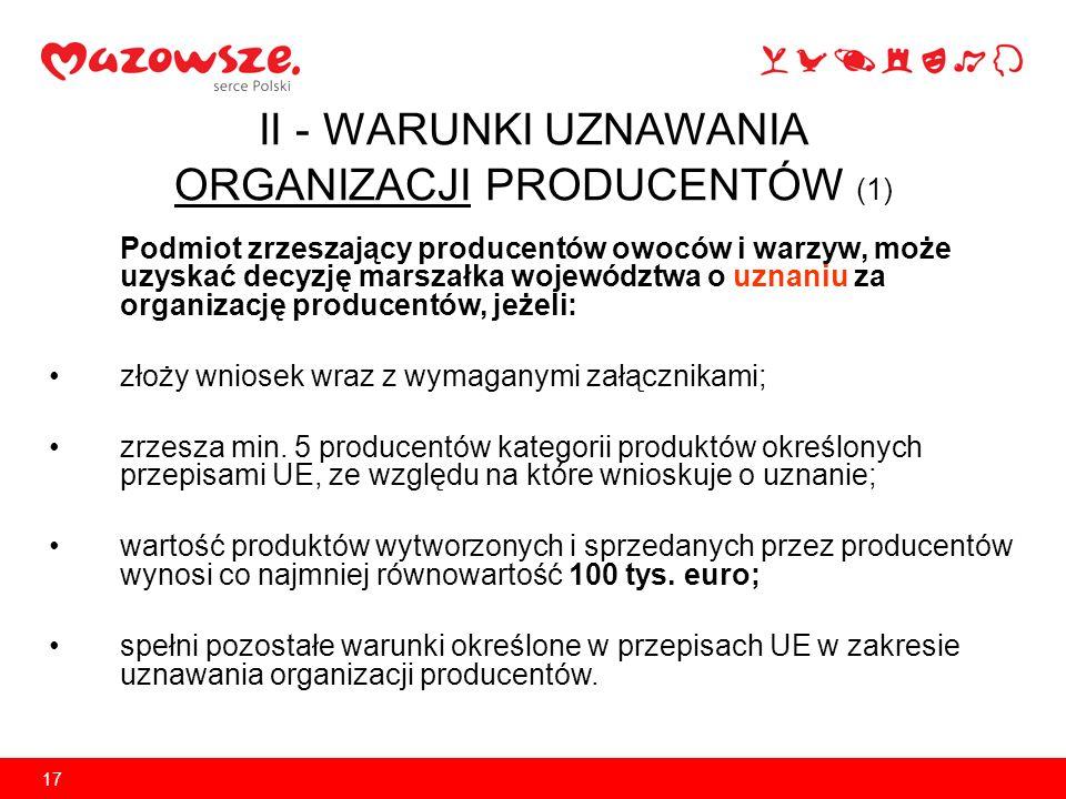 17 II - WARUNKI UZNAWANIA ORGANIZACJI PRODUCENTÓW (1) Podmiot zrzeszający producentów owoców i warzyw, może uzyskać decyzję marszałka województwa o uz