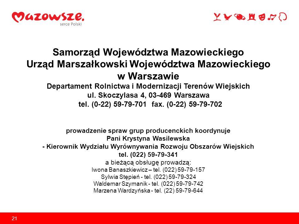 21 Samorząd Województwa Mazowieckiego Urząd Marszałkowski Województwa Mazowieckiego w Warszawie Departament Rolnictwa i Modernizacji Terenów Wiejskich