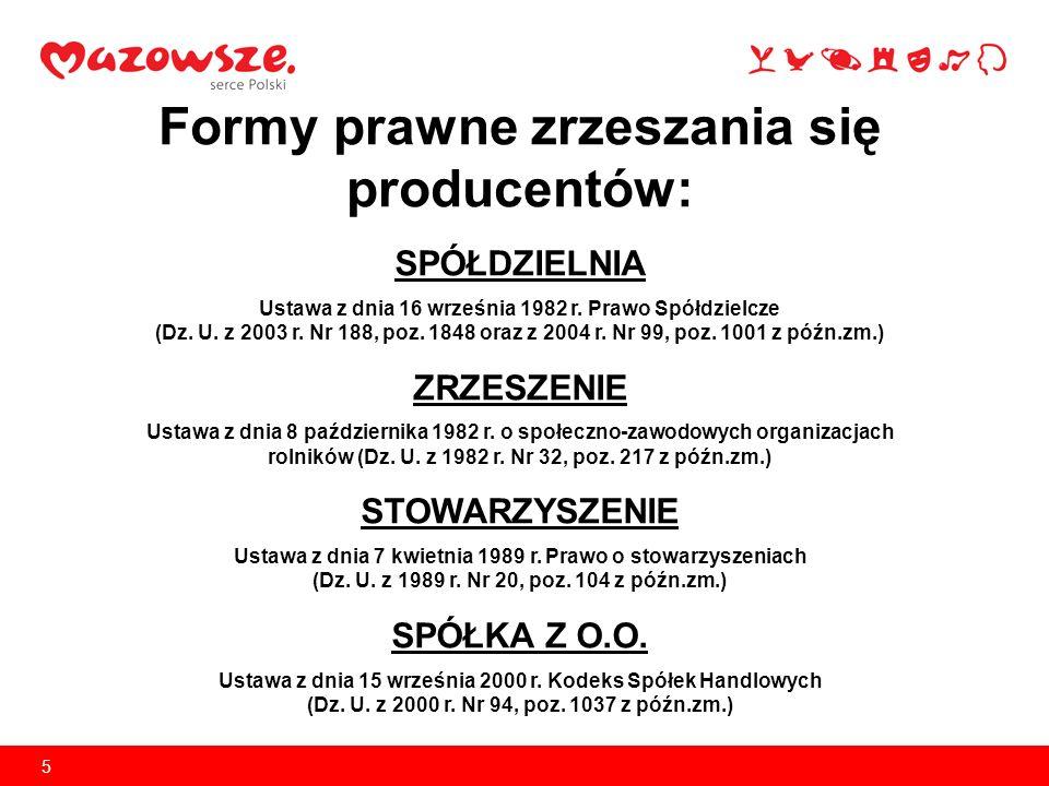 5 Formy prawne zrzeszania się producentów: SPÓŁDZIELNIA Ustawa z dnia 16 września 1982 r. Prawo Spółdzielcze (Dz. U. z 2003 r. Nr 188, poz. 1848 oraz