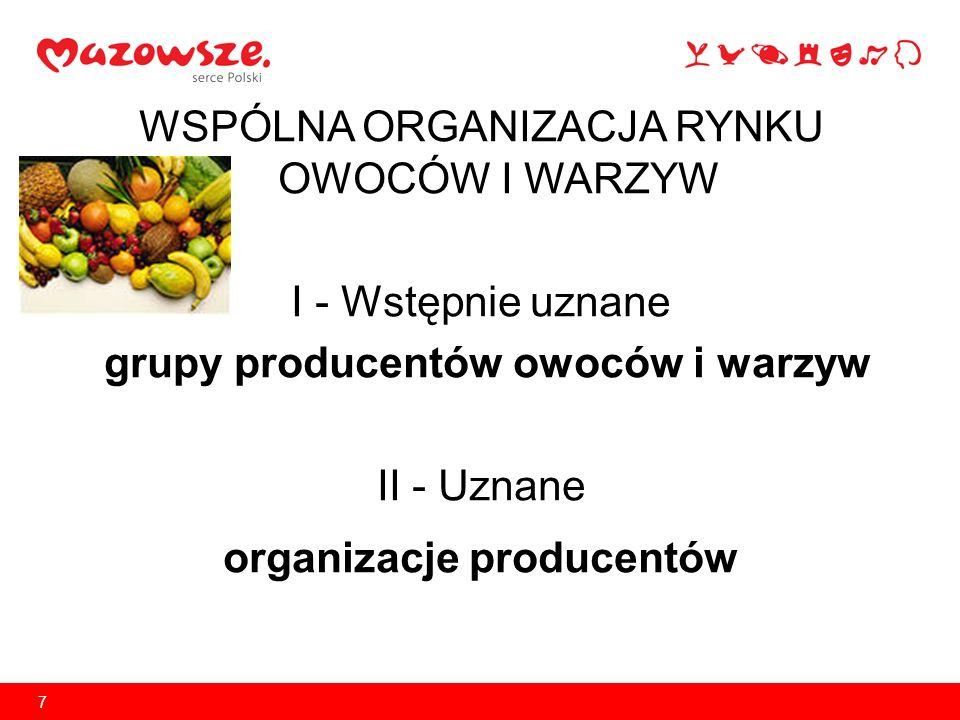 7 WSPÓLNA ORGANIZACJA RYNKU OWOCÓW I WARZYW I - Wstępnie uznane grupy producentów owoców i warzyw II - Uznane organizacje producentów