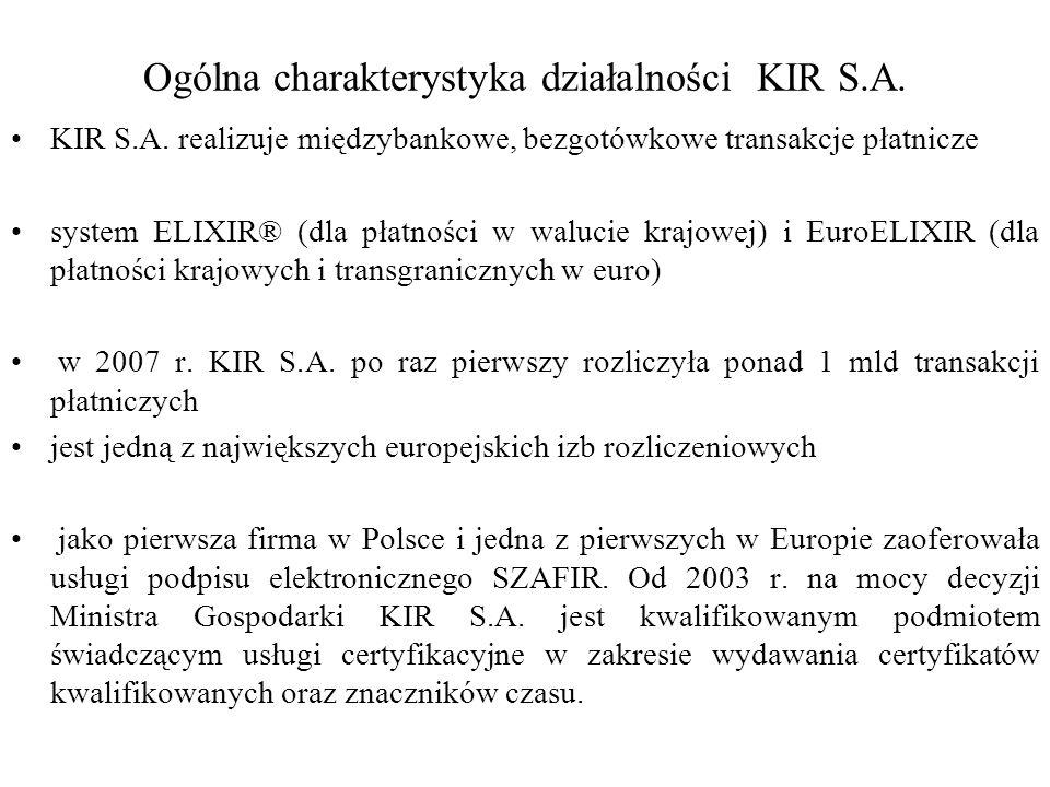 Ogólna charakterystyka działalności KIR S.A. KIR S.A. realizuje międzybankowe, bezgotówkowe transakcje płatnicze system ELIXIR® (dla płatności w waluc