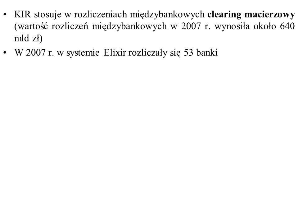 KIR stosuje w rozliczeniach międzybankowych clearing macierzowy (wartość rozliczeń międzybankowych w 2007 r. wynosiła około 640 mld zł) W 2007 r. w sy