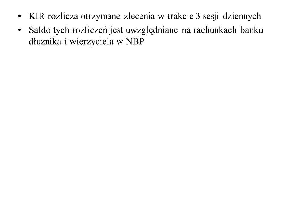 KIR rozlicza otrzymane zlecenia w trakcie 3 sesji dziennych Saldo tych rozliczeń jest uwzględniane na rachunkach banku dłużnika i wierzyciela w NBP