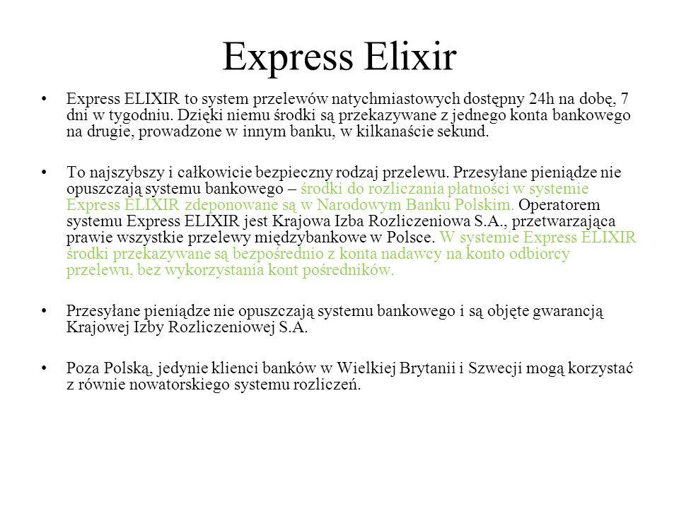 Express Elixir Express ELIXIR to system przelewów natychmiastowych dostępny 24h na dobę, 7 dni w tygodniu. Dzięki niemu środki są przekazywane z jedne