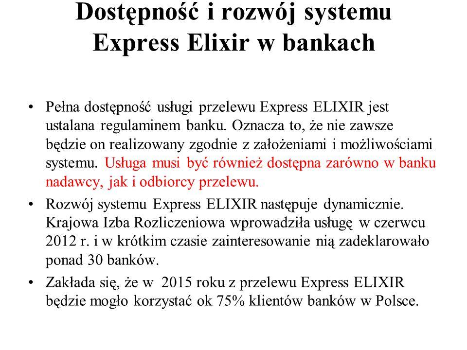 Dostępność i rozwój systemu Express Elixir w bankach Pełna dostępność usługi przelewu Express ELIXIR jest ustalana regulaminem banku. Oznacza to, że n