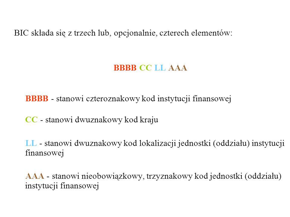 BIC składa się z trzech lub, opcjonalnie, czterech elementów: BBBB CC LL AAA BBBB - stanowi czteroznakowy kod instytucji finansowej CC - stanowi dwuzn