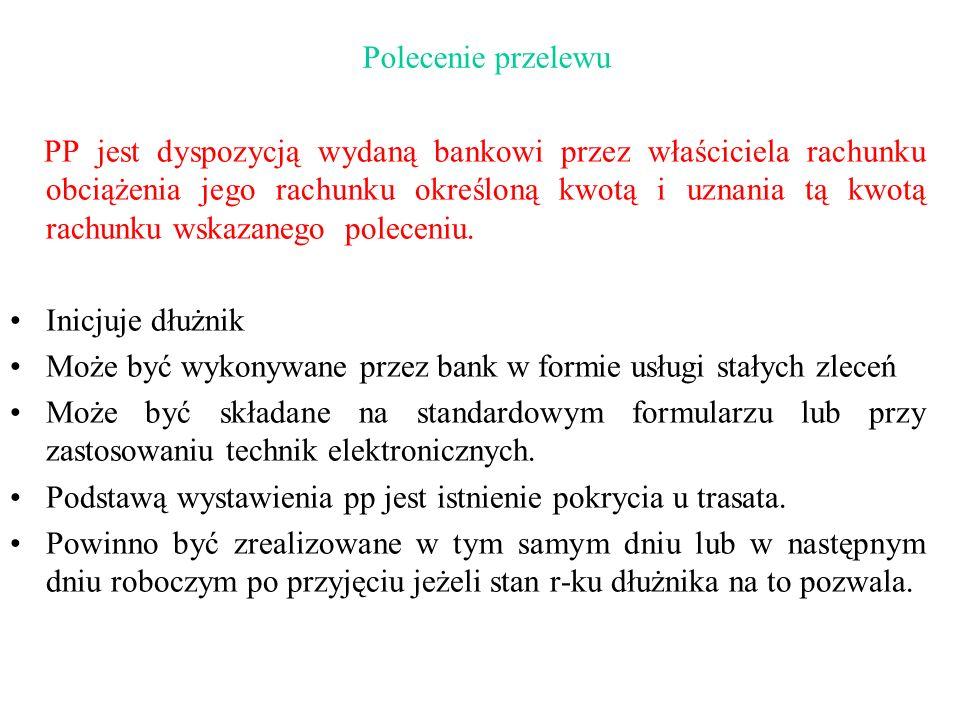 Polecenie przelewu PP jest dyspozycją wydaną bankowi przez właściciela rachunku obciążenia jego rachunku określoną kwotą i uznania tą kwotą rachunku w