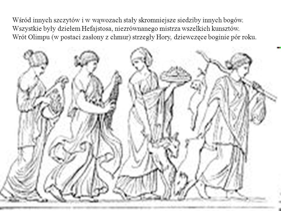 Wśród innych szczytów i w wąwozach stały skromniejsze siedziby innych bogów. Wszystkie były dziełem Hefajstosa, niezrównanego mistrza wszelkich kunszt