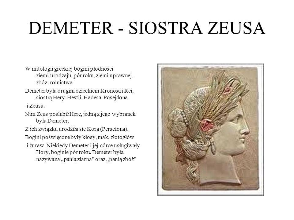 DEMETER - SIOSTRA ZEUSA W mitologii greckiej bogini płodności ziemi,urodzaju, pór roku, ziemi uprawnej, zbóż, rolnictwa. Demeter była drugim dzieckiem