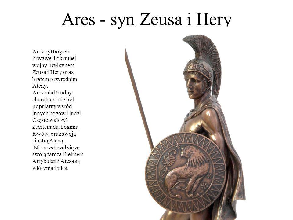 Ares - syn Zeusa i Hery Ares był bogiem krwawej i okrutnej wojny. Był synem Zeusa i Hery oraz bratem przyrodnim Ateny. Ares miał trudny charakter i ni