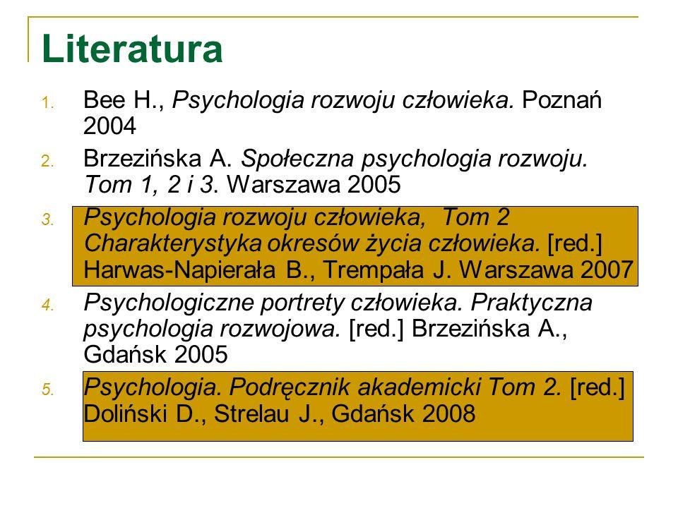 Literatura 1. Bee H., Psychologia rozwoju człowieka. Poznań 2004 2. Brzezińska A. Społeczna psychologia rozwoju. Tom 1, 2 i 3. Warszawa 2005 3. Psycho