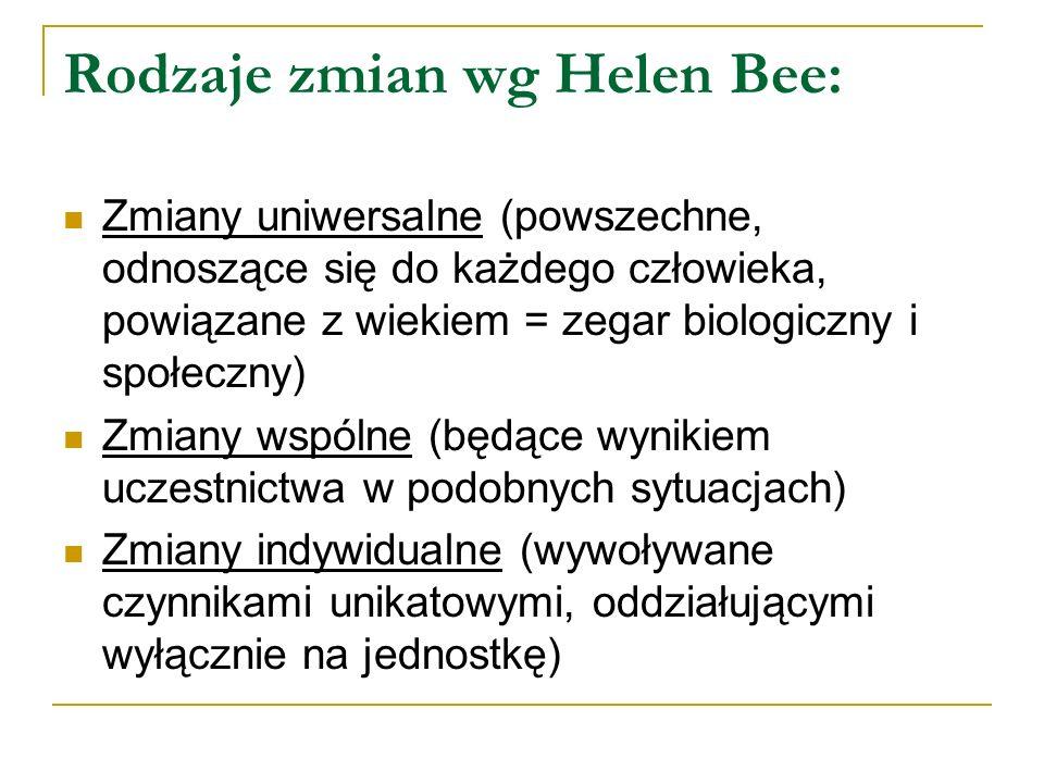Rodzaje zmian wg Helen Bee: Zmiany uniwersalne (powszechne, odnoszące się do każdego człowieka, powiązane z wiekiem = zegar biologiczny i społeczny) Z
