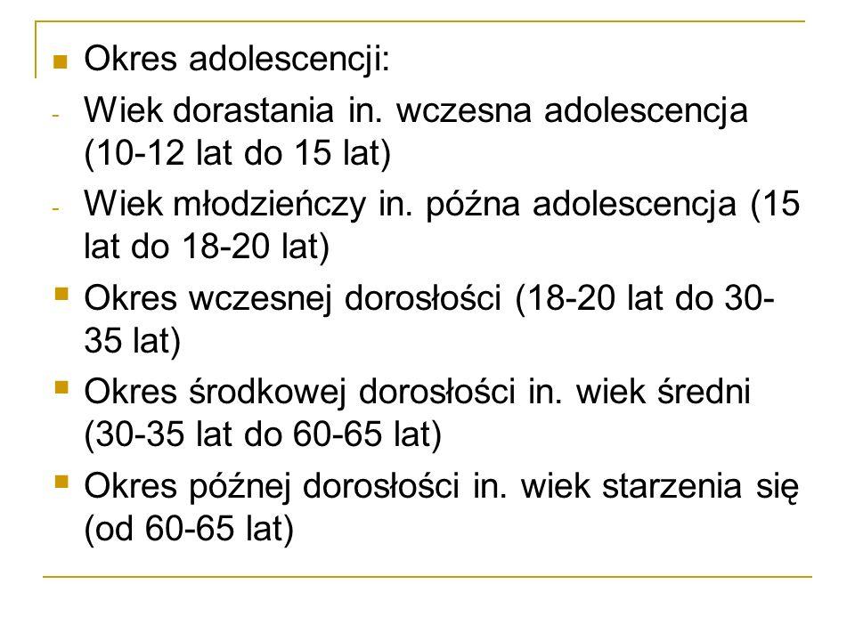 Okres adolescencji: - Wiek dorastania in. wczesna adolescencja (10-12 lat do 15 lat) - Wiek młodzieńczy in. późna adolescencja (15 lat do 18-20 lat) 