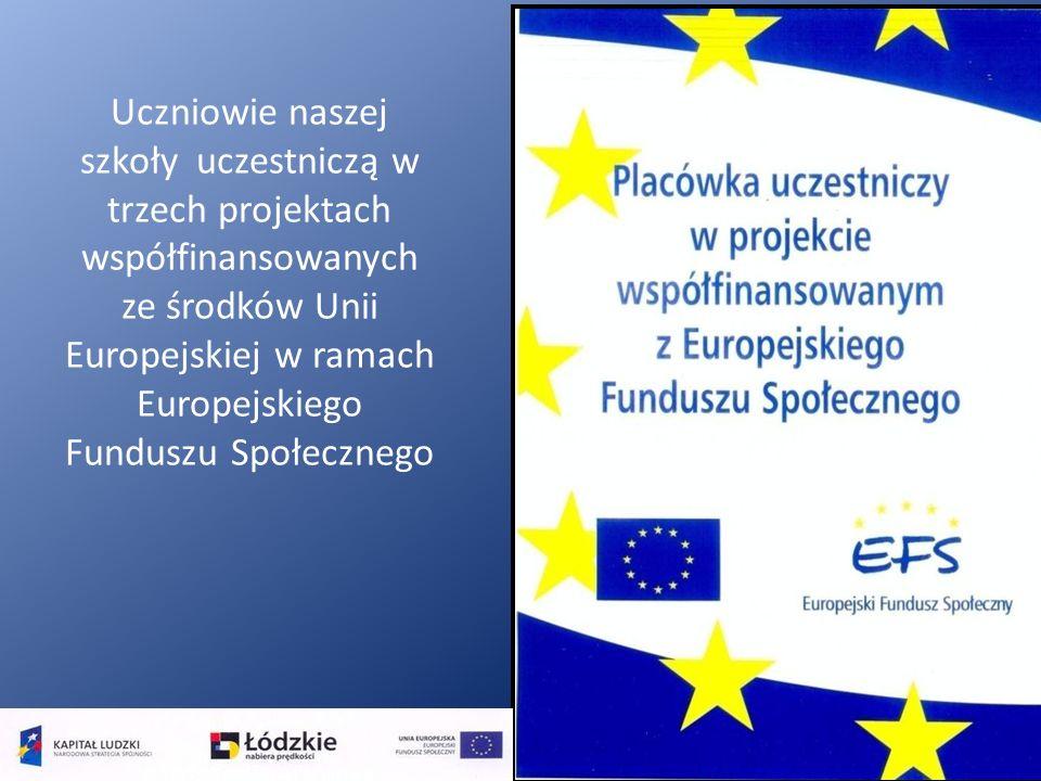 Uczniowie naszej szkoły uczestniczą w trzech projektach współfinansowanych ze środków Unii Europejskiej w ramach Europejskiego Funduszu Społecznego