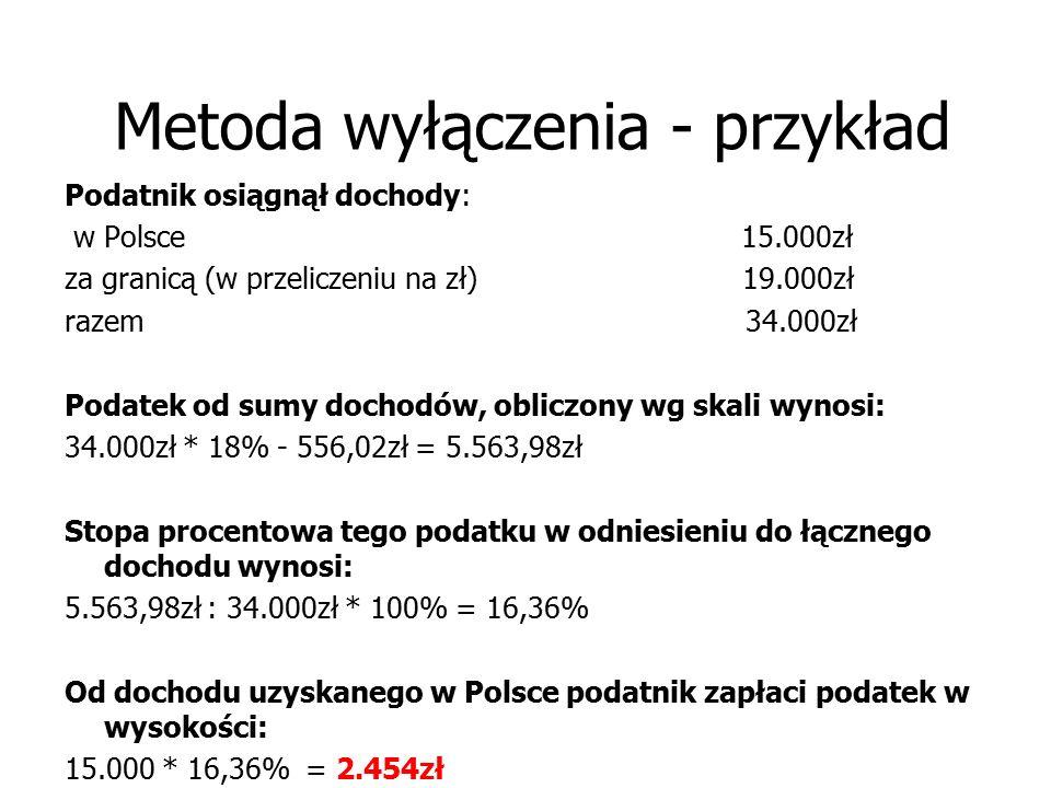 Metoda wyłączenia - przykład Podatnik osiągnął dochody: w Polsce 15.000zł za granicą (w przeliczeniu na zł) 19.000zł razem 34.000zł Podatek od sumy do