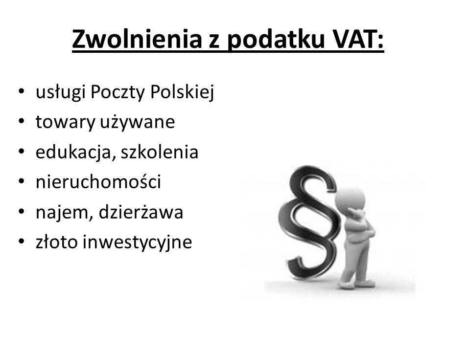 Zwolnienia z podatku VAT: usługi Poczty Polskiej towary używane edukacja, szkolenia nieruchomości najem, dzierżawa złoto inwestycyjne