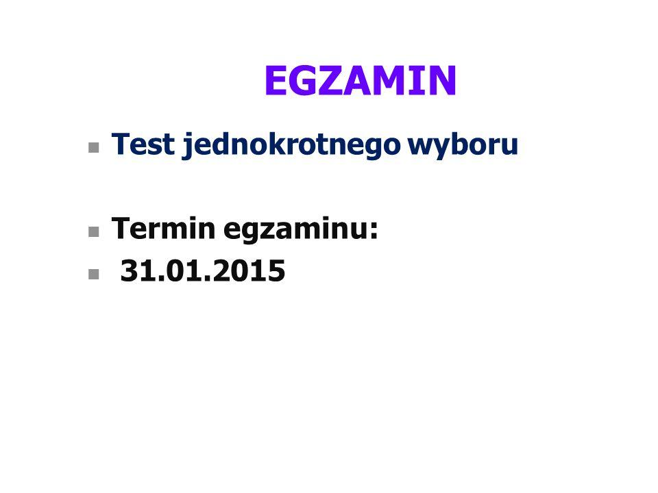 EGZAMIN Test jednokrotnego wyboru Termin egzaminu: 31.01.2015