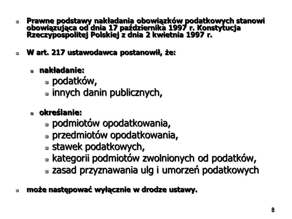 8 Prawne podstawy nakładania obowiązków podatkowych stanowi obowiązująca od dnia 17 października 1997 r. Konstytucja Rzeczypospolitej Polskiej z dnia