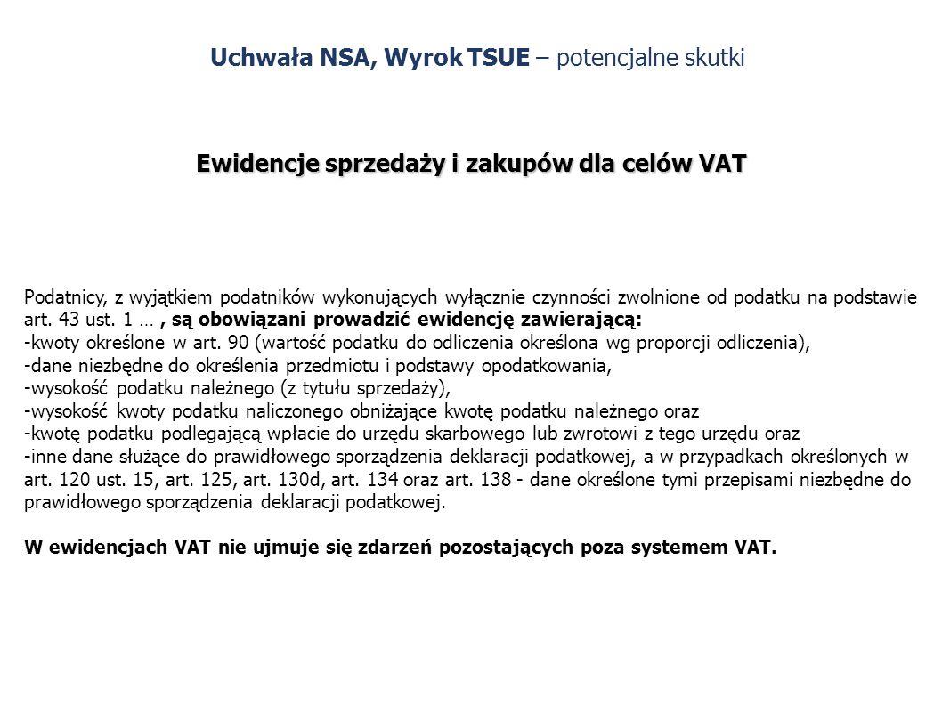 Uchwała NSA, Wyrok TSUE – potencjalne skutki Ewidencje sprzedaży i zakupów dla celów VAT Podatnicy, z wyjątkiem podatników wykonujących wyłącznie czynności zwolnione od podatku na podstawie art.