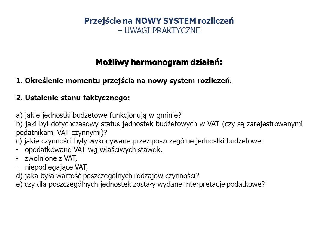 Przejście na NOWY SYSTEM rozliczeń – UWAGI PRAKTYCZNE Możliwy harmonogram działań: 1. Określenie momentu przejścia na nowy system rozliczeń. 2. Ustale