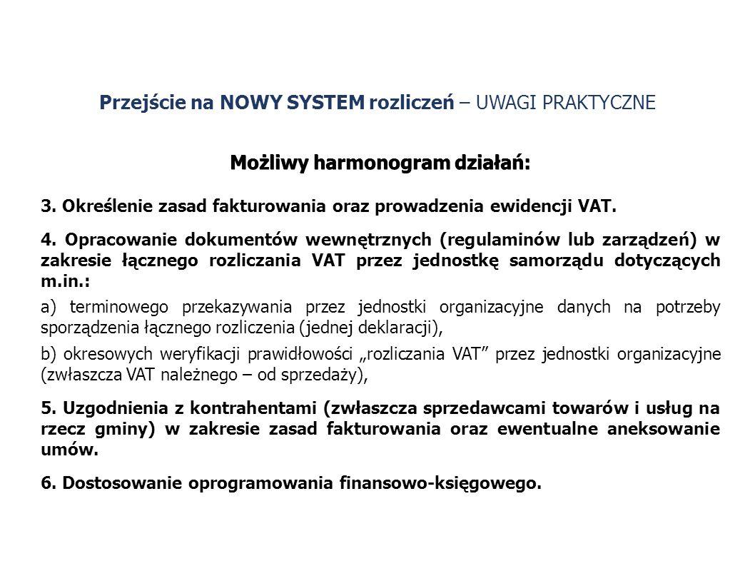 Możliwy harmonogram działań: 3. Określenie zasad fakturowania oraz prowadzenia ewidencji VAT. 4. Opracowanie dokumentów wewnętrznych (regulaminów lub