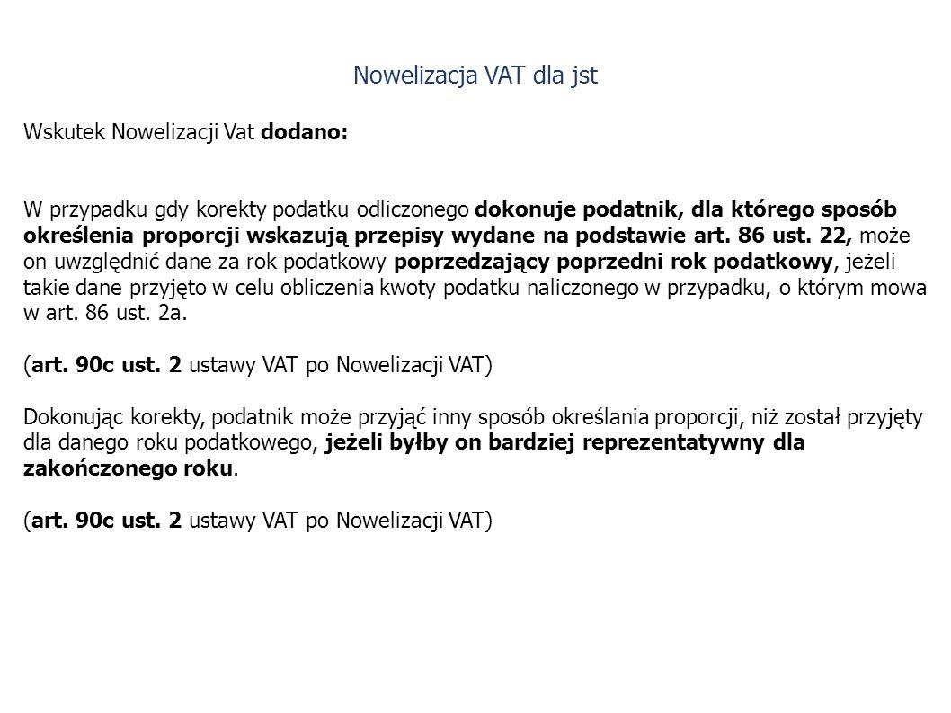 Wskutek Nowelizacji Vat dodano: W przypadku gdy korekty podatku odliczonego dokonuje podatnik, dla którego sposób określenia proporcji wskazują przepisy wydane na podstawie art.