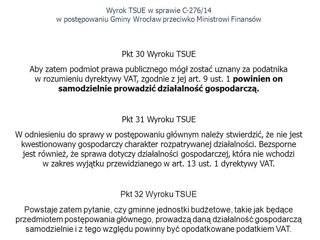 Pkt 30 Wyroku TSUE Aby zatem podmiot prawa publicznego mógł zostać uznany za podatnika w rozumieniu dyrektywy VAT, zgodnie z jej art.