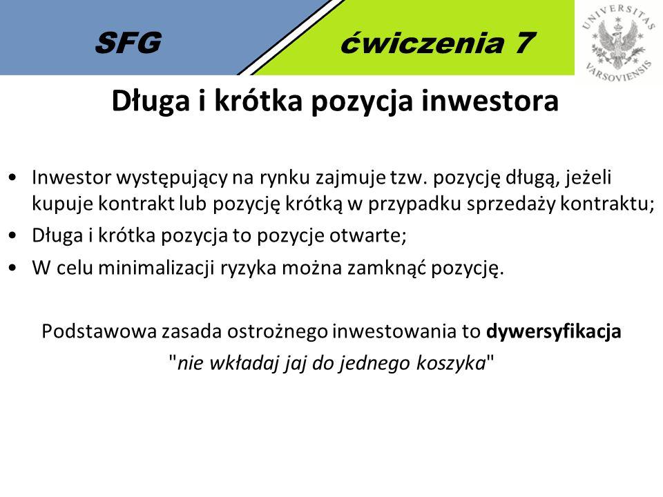 SFGćwiczenia 7 Długa i krótka pozycja inwestora Inwestor występujący na rynku zajmuje tzw.