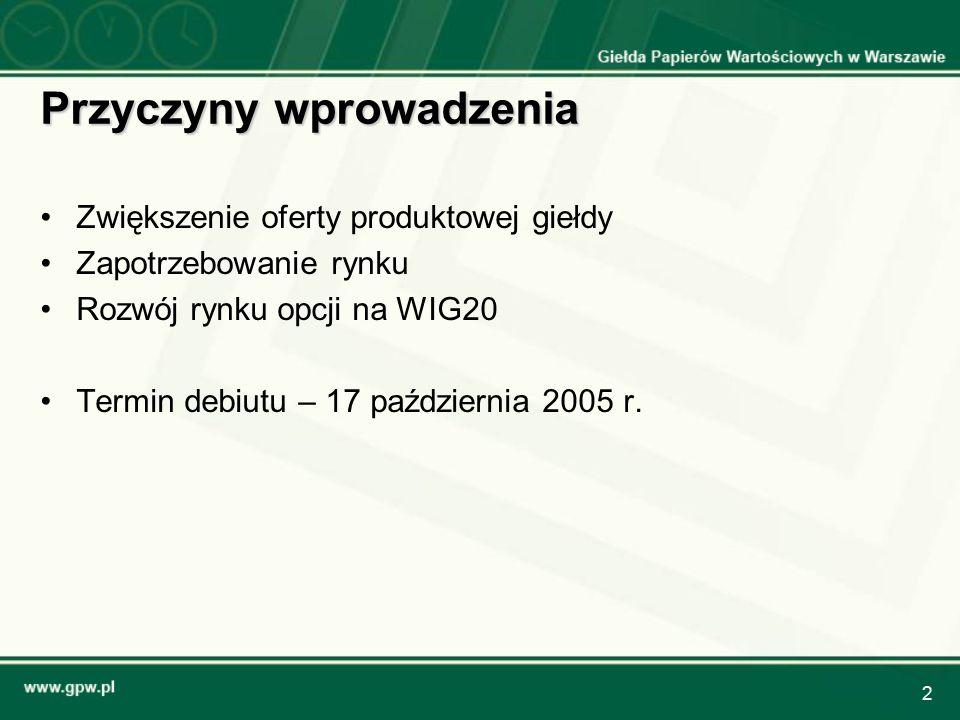 2 Przyczyny wprowadzenia Zwiększenie oferty produktowej giełdy Zapotrzebowanie rynku Rozwój rynku opcji na WIG20 Termin debiutu – 17 październia 2005 r.