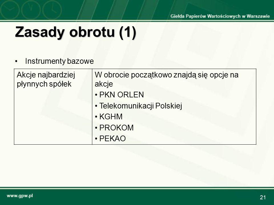 21 Zasady obrotu (1) Instrumenty bazowe Akcje najbardziej płynnych spółek W obrocie początkowo znajdą się opcje na akcje PKN ORLEN Telekomunikacji Polskiej KGHM PROKOM PEKAO