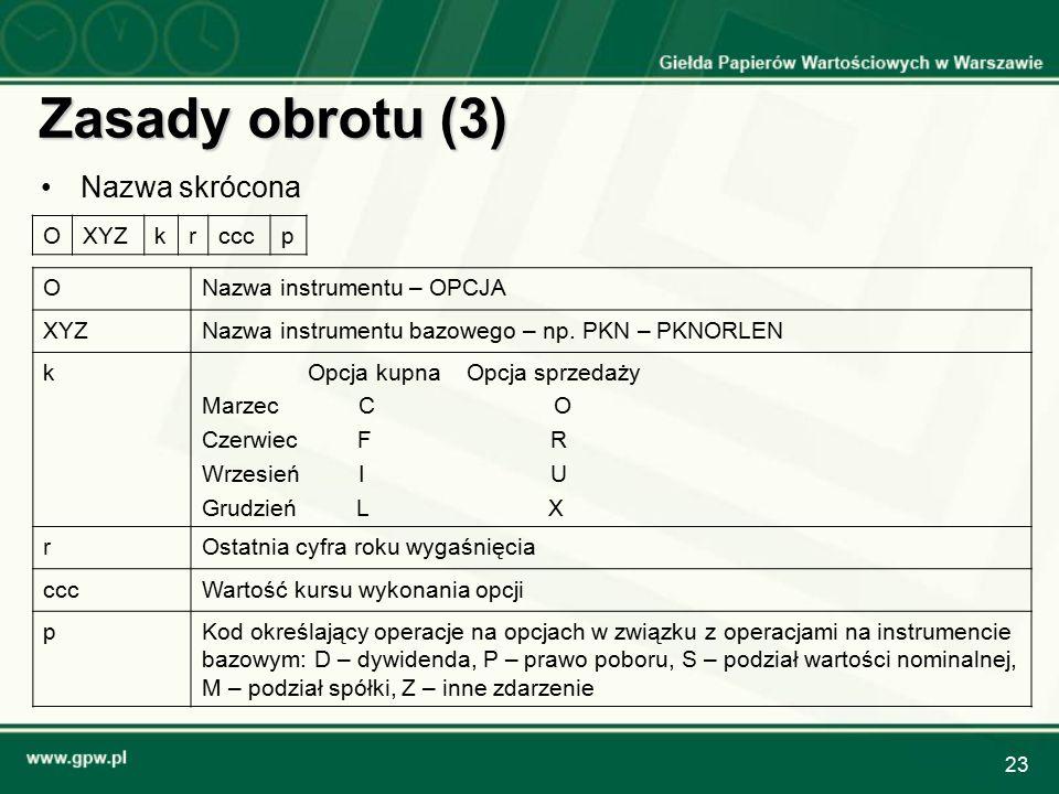 23 Zasady obrotu (3) Nazwa skrócona OXYZkrcccp ONazwa instrumentu – OPCJA XYZNazwa instrumentu bazowego – np. PKN – PKNORLEN kOpcja kupna Opcja sprzed