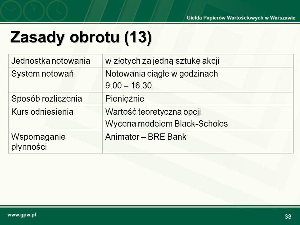 33 Zasady obrotu (13) Jednostka notowaniaw złotych za jedną sztukę akcji System notowańNotowania ciągłe w godzinach 9:00 – 16:30 Sposób rozliczeniaPie