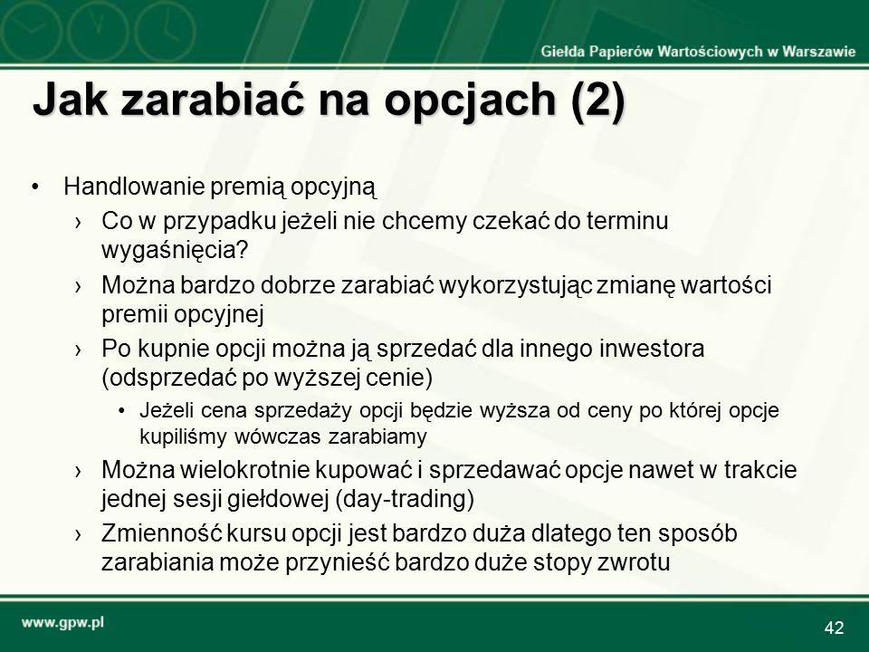 42 Jak zarabiać na opcjach (2) Handlowanie premią opcyjną › ›Co w przypadku jeżeli nie chcemy czekać do terminu wygaśnięcia.