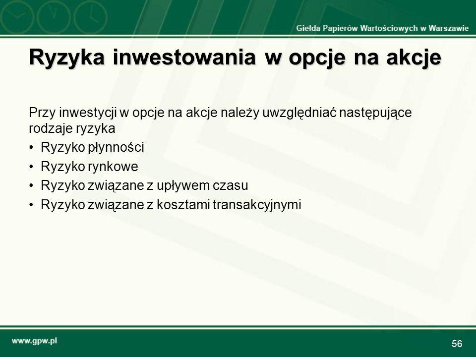 56 Ryzyka inwestowania w opcje na akcje Przy inwestycji w opcje na akcje należy uwzględniać następujące rodzaje ryzyka Ryzyko płynności Ryzyko rynkowe Ryzyko związane z upływem czasu Ryzyko związane z kosztami transakcyjnymi