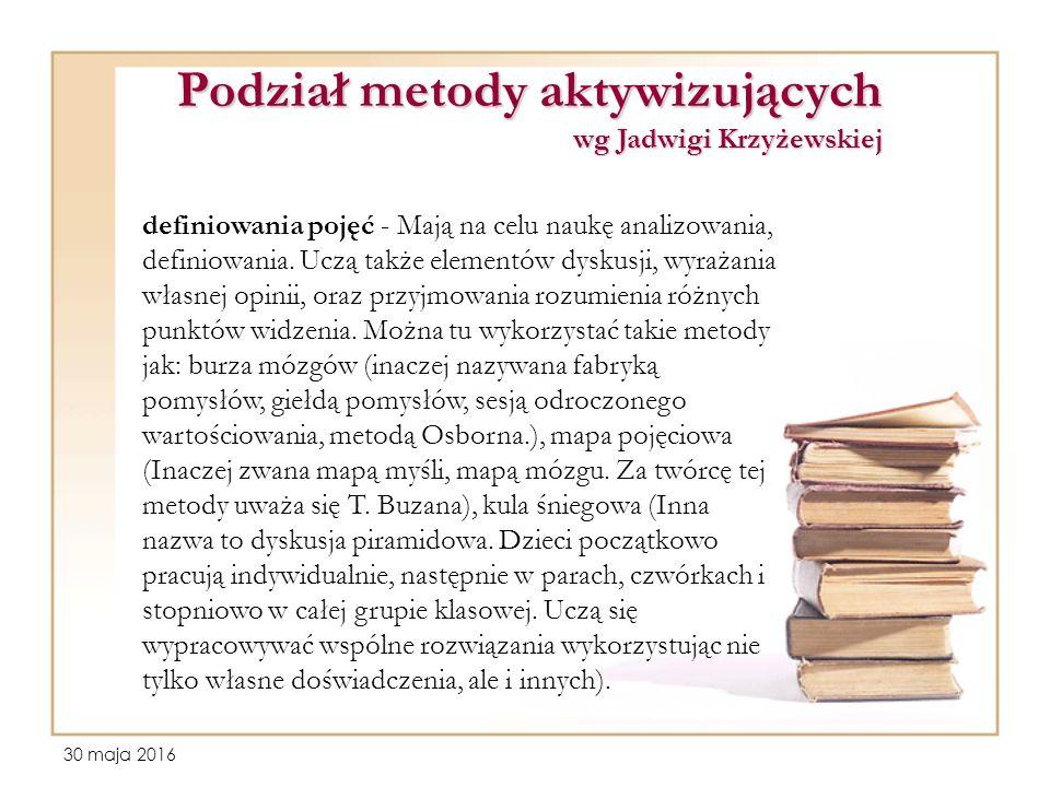 30 maja 2016 Podział metody aktywizujących wg Jadwigi Krzyżewskiej definiowania pojęć - Mają na celu naukę analizowania, definiowania.