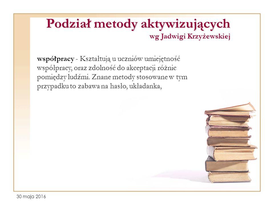 30 maja 2016 Podział metody aktywizujących wg Jadwigi Krzyżewskiej współpracy - Kształtują u uczniów umiejętność współpracy, oraz zdolność do akceptacji różnic pomiędzy ludźmi.