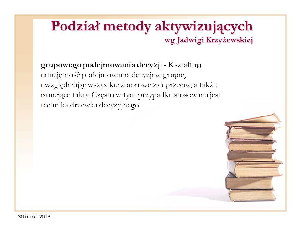 30 maja 2016 Podział metody aktywizujących wg Jadwigi Krzyżewskiej grupowego podejmowania decyzji - Kształtują umiejętność podejmowania decyzji w grupie, uwzględniając wszystkie zbiorowe za i przeciw, a także istniejące fakty.